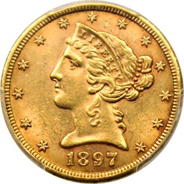 Image of 1897-S $5 PCGS MS62