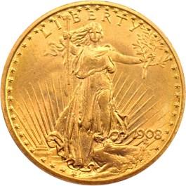 Image of 1908 $20 PCGS MS64 (No Motto) - No Reserve!