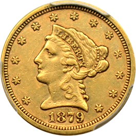 Image of 1879-S $2 1/2 PCGS AU50