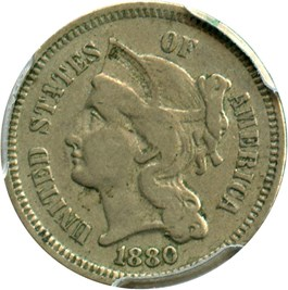 Image of 1880 3cN PCGS/CAC VF35