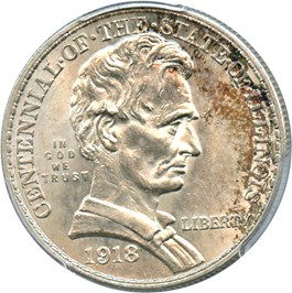 Image of 1918 Lincoln-Illinois 50c PCGS MS64