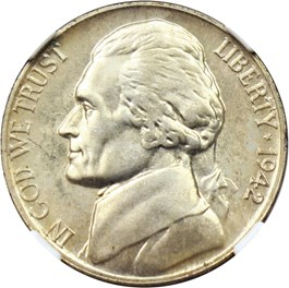 Image of 1942-P 5c NGC Proof 67 (Type 2, Silver, Highland Collection)