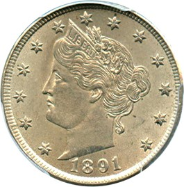 Image of 1891 5c PCGS MS64