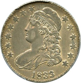 Image of 1833 50c PCGS/CAC XF45