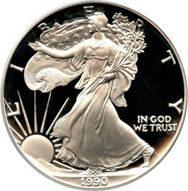 Image of 1990-S Silver Eagle $1 PCGS Proof 69 DCAM