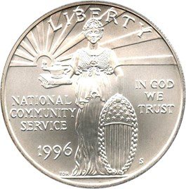 Image of 1996-S National Community Service $1 PCGS MS69