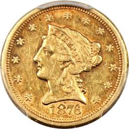 Image of 1876-S $2 1/2 PCGS/CAC AU50
