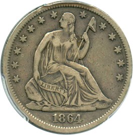 Image of 1864-S 50c PCGS/CAC VF30