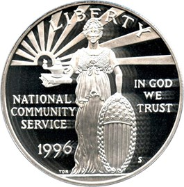 Image of 1996-S National Community Service $1 PCGS Proof 69 DCAM