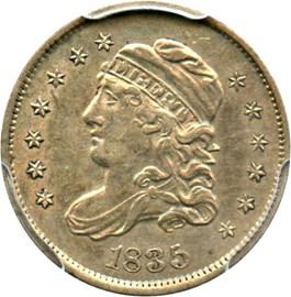 Image of 1835 H10c PCGS/CAC AU55 (Large Date, Large 5C)