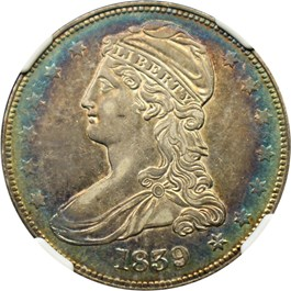 Image of 1839 50c NGC/CAC AU53 (Capped)