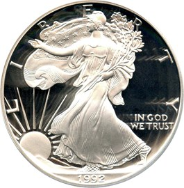 Image of 1992-S Silver Eagle $1 PCGS Proof 70 DCAM