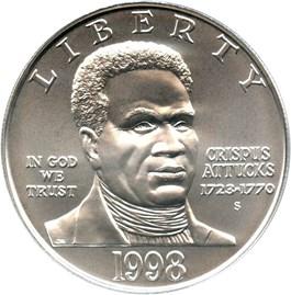 Image of 1998-S Black Patriots/Crispus Attucks $1 PCGS MS69