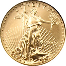 Image of 2007 Gold Eagle $5 NGC MS70