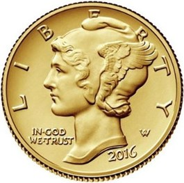 Image of 2016 Mercury Dime Centennial Gold Commemorative Coin with OGP