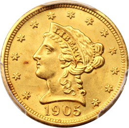 Image of 1905 $2 1/2 PCGS MS66