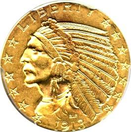 Image of 1913 $5 PCGS AU55