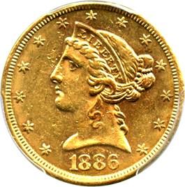 Image of 1886-S $5 PCGS AU55