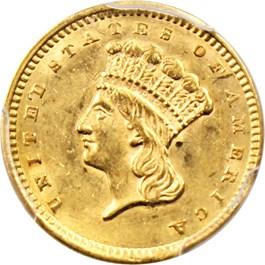 Image of 1856 G$1 PCGS MS61 (Type 3, Slanted 5)