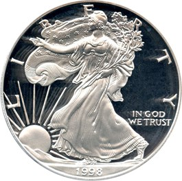 Image of 1998-P Silver Eagle $1 PCGS Proof 70 DCAM