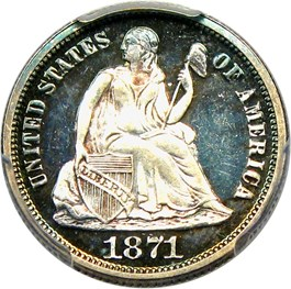 Image of 1871 10c PCGS Proof 66 CAM