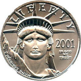 Image of 2001 Platinum Eagle $50 NGC MS69