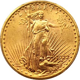 Image of 1922 $20 PCGS MS63
