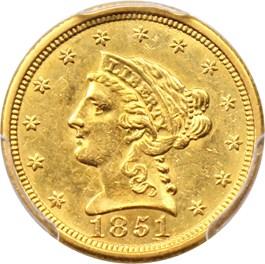Image of 1851-O $2 1/2 PCGS/CAC AU58