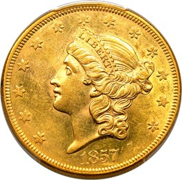 Image of 1857 $20 PCGS MS61