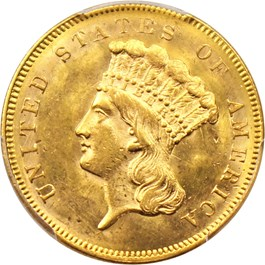 Image of 1857 $3 PCGS MS63