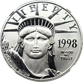 Image of 1998 Platinum Eagle $100 NGC MS69
