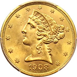 Image of 1908 Liberty $5 PCGS MS64
