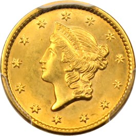Image of 1849 G$1 PCGS MS64 (Open Wreath)