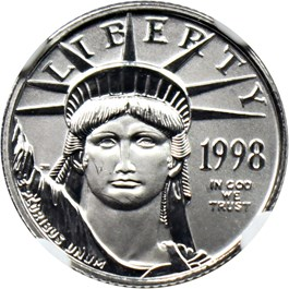 Image of 1998 Platinum Eagle $10 NGC MS69