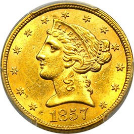 Image of 1857 $5 PCGS MS62