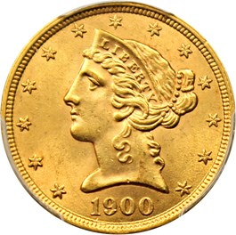 Image of 1900 $5 PCGS MS64