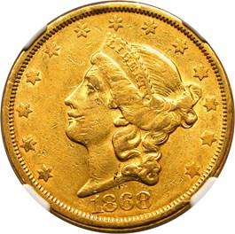 Image of 1868-S $20 NGC AU53
