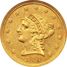 Image of 1857-S $2 1/2 NGC AU58