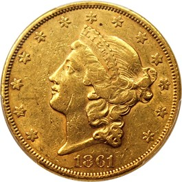 Image of 1861 $20 PCGS AU53