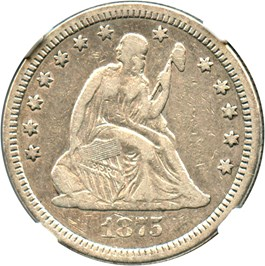 Image of 1875-CC 25c NGC F15