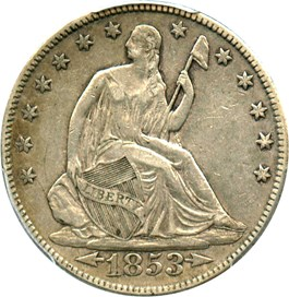 Image of 1853 50c PCGS/CAC XF45 (Arrows & Rays)