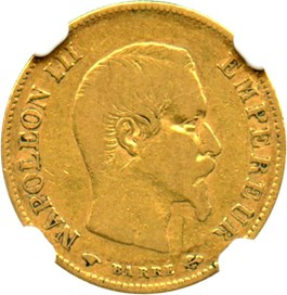 Image of France: 1859-A Gold 10 Francs NGC F15 (KM-784.3)