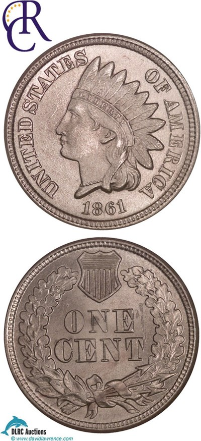 Image of 1861 1c  NGC MS64  ex: Richmond Collection