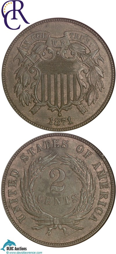 Image of 1871 2c  NGC MS64 BN ex: Richmond Collection