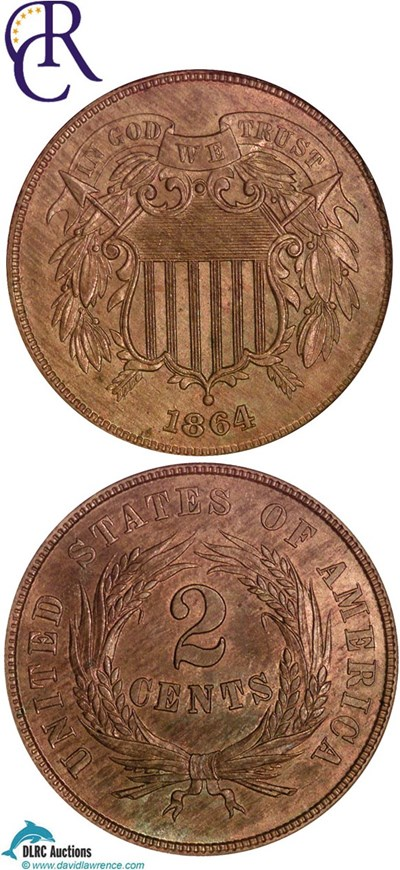 Image of 1864 2c Large Motto NGC MS64 RB ex: Richmond Collection