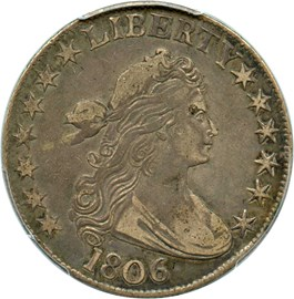 Image of 1806 50c PCGS/CAC XF40 (Pointed 6, No Stems)