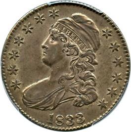 Image of 1833 50c PCGS/CAC AU58