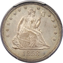 Image of 1858 25c PCGS/CAC MS64