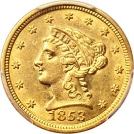 Image of 1853 $2 1/2 PCGS/CAC AU58