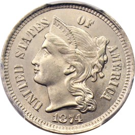 Image of 1874 3cN PCGS/CAC MS65